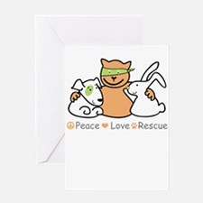 peace love rescue Greeting Cards