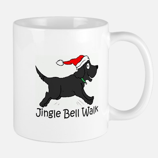 CHRISTMAS DOG - Jingle Bell Walk - BLACK DOG Mugs