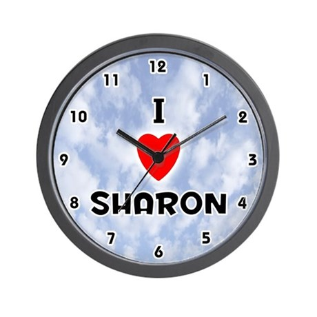 I Love Sharon (Black) Valentine Wall Clock