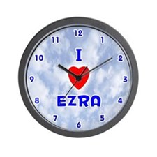 I Love Ezra (Blue) Valentine Wall Clock