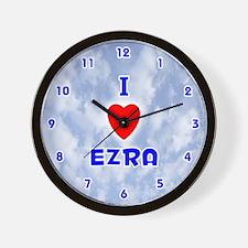 I Love Ezra (Blue) Valentine Wall Clock