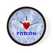 I Love Fabian (Blue) Valentine Wall Clock