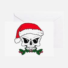 Christmas mistletoe skull Greeting Card
