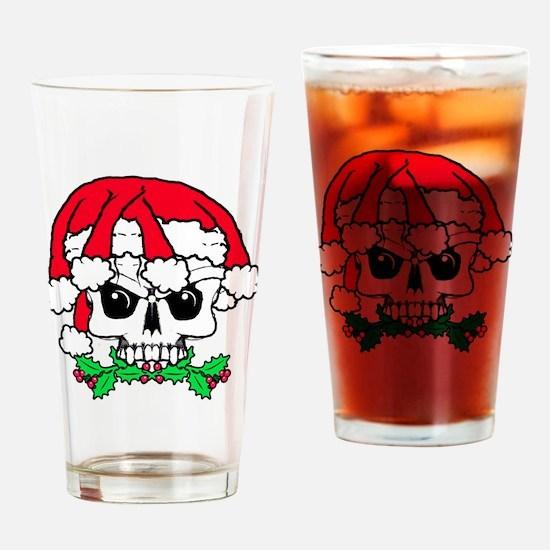 Dread head Santa skull. Drinking Glass