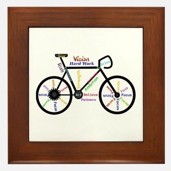 Bike made up of words to motivate Framed Tile