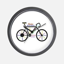 Bike made up of words to motivate Wall Clock