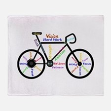 Bike Made Up Of Words To Motivate Throw Blanket