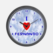I Love Fernando (Blue) Valentine Wall Clock