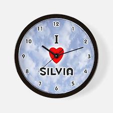 I Love Silvia (Black) Valentine Wall Clock
