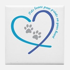 pets leave paw prints on your heart Tile Coaster