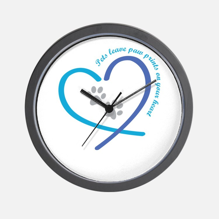 pets leave paw prints on your heart Wall Clock