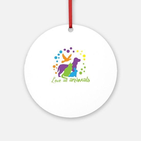 love all animals Round Ornament