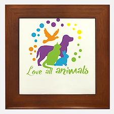 love all animals Framed Tile