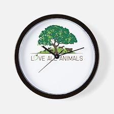 love all animals Wall Clock