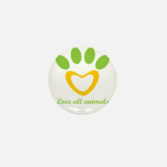 love all animals Mini Button