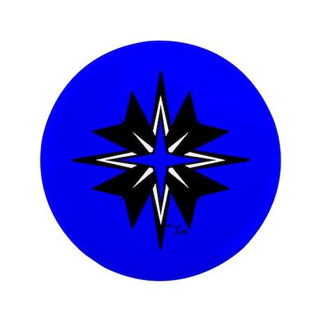 "Tribal Blue 3.5"" Button"