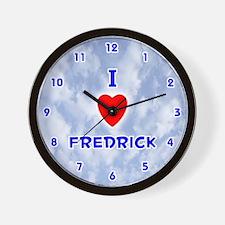 I Love Fredrick (Blue) Valentine Wall Clock