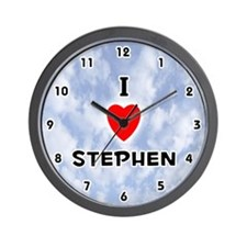 I Love Stephen (Black) Valentine Wall Clock
