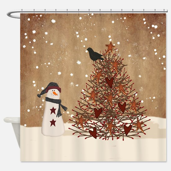 Primitive Snowman With Tree Shower Curtain