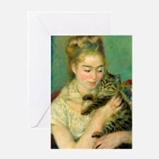 Woman with a Cat by Auguste Renoir Greeting Cards