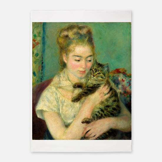 Woman with a Cat by Auguste Renoir 5'x7'Area Rug
