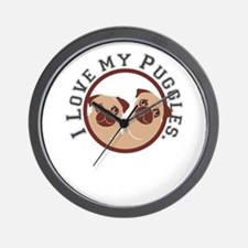 i love my puggles Wall Clock