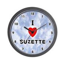 I Love Suzette (Black) Valentine Wall Clock