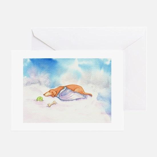 Dachshund Cloud Angel Greeting Cards