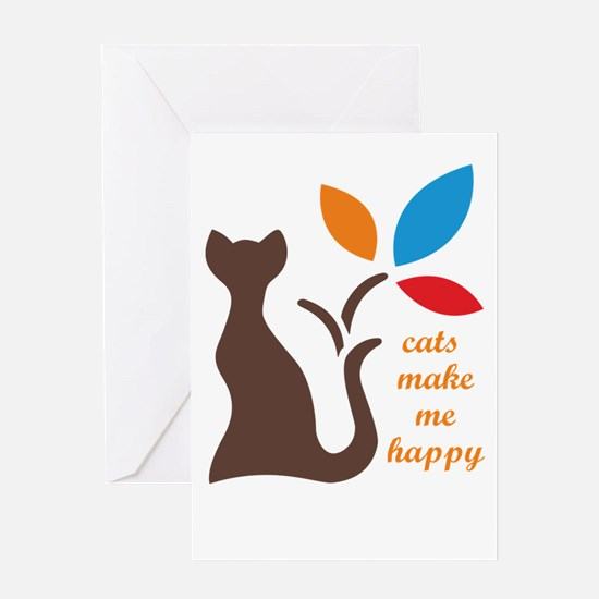 cats make me happy Greeting Cards