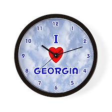 I Love Georgia (Blue) Valentine Wall Clock