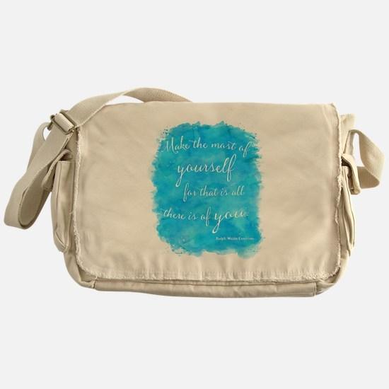Emerson Blue Watercolor Motivational Messenger Bag
