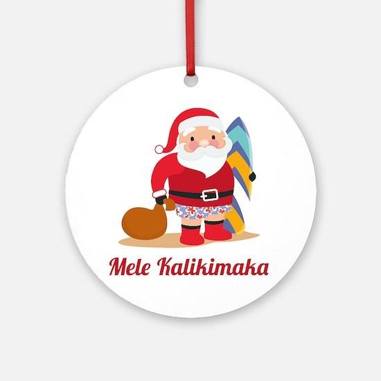 ChristmasMeleKalikimaka1A.png Round Ornament