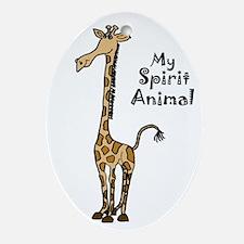 Funny Giraffe Spirit Guide Oval Ornament