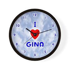 I Love Gina (Blue) Valentine Wall Clock
