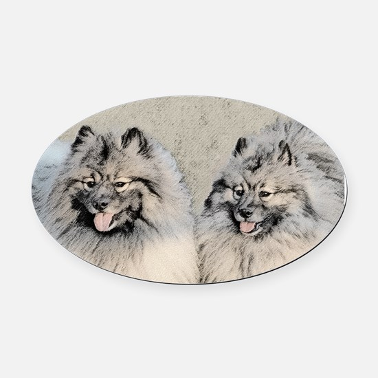 Keeshonds Oval Car Magnet