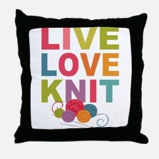 Live Love Knit Throw Pillow