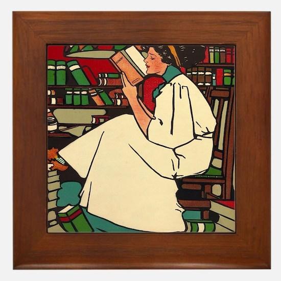 Funny Fun librarian Framed Tile