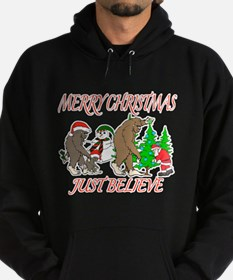 Bigfoot family meet Santa 3 Hoodie (dark)