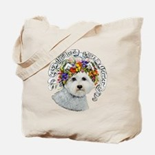 Westie Flower Garland Tote Bag
