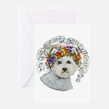 Westie Flower Garland Greeting Cards