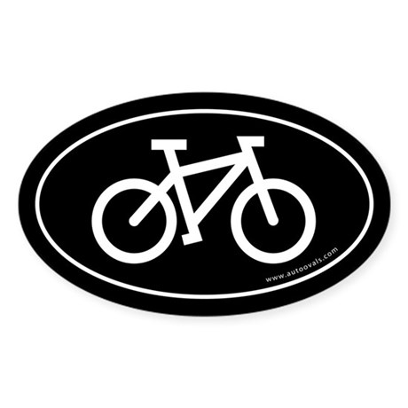 Bicycle (cycling) Auto Decal -Black (Oval)