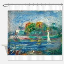 The Blue River by Auguste Renoir Shower Curtain