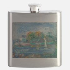 The Blue River by Auguste Renoir Flask