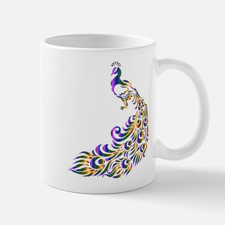 Mardi-Gras Peacock Mugs