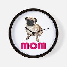 Pug Mom Blue Wall Clock