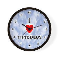 I Love Thaddeus (Black) Valentine Wall Clock