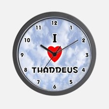 I Love Thaddeus (Black) Valentine Wall Clock