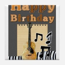 Musical Guitar Happy Birthday Tile Coaster