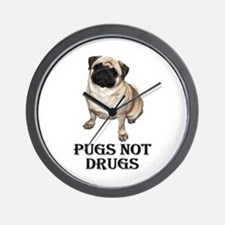 Cool Pugs not drugs Wall Clock