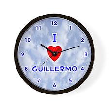 I Love Guillermo (Blue) Valentine Wall Clock